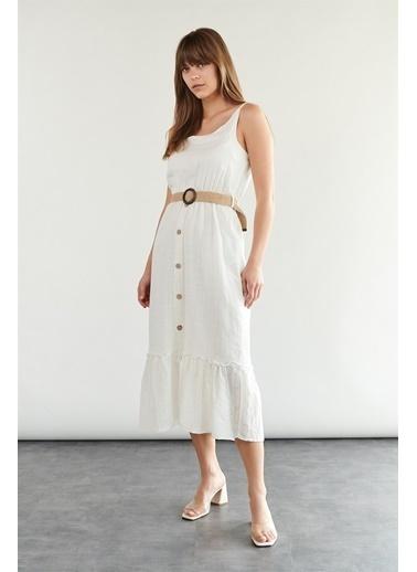 Levure Beli Kemerli Askılı Elbise Beyaz